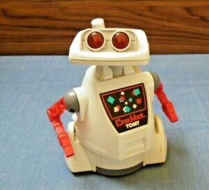 """Vtg Crackbot 1980's Toy Robot by Tomy DIrty & """"Kind of Works"""" READ BELOW"""