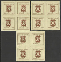 AUSTRALIA 1981 CRICKET STRAND STRIKE MAIL CINDERELLAS 3v blocks of 4 Perf MNH