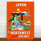 "Stunning Vintage Travel Poster Art ~ CANVAS PRINT 18x12"" Visit Japan"