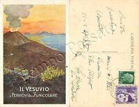 Cartolina di Pompei, ferrovia elettrica del Vesuvio - Napoli, 1937