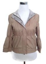 BRUNELLO CUCINELLI Leather Jacket 42 Beige NWT €2995 Gathered Kid Cropped 6