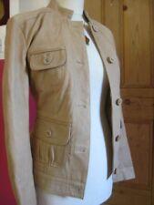 Ladies NEXT camel beige real leather JACKET COAT size UK 12 short SAFARI biker