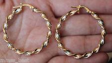 "New 14K Tri color Gold Italian Satin High Polish 1.2"" 30mm Twisted Hoop Earrings"