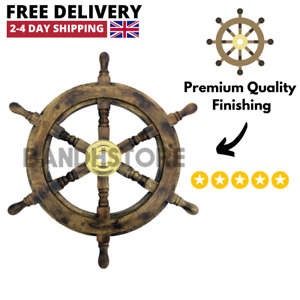 """Wooden Ship Wheel Steering 19"""" Nautical Decor Wood With Brass Inlay UK Seller"""