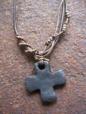 Herren Kette Kreuz Herrenkette Halskette Vintage braun neu Kreuzkette Lederkette