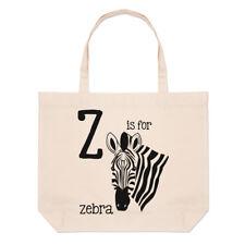 LETTERE Z è per zebrato GRANDE BORSA CON MANICO da Spiaggia - Alfabeto