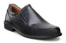 Men's ECCO Holton Apron Toe Slip-On Leather Shoes Black 621124 01001