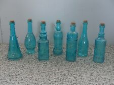 Small Teal Blue Glass Bottles w/ Corks - Set of 4