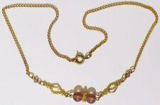collier bijou vintage année 70 perle de verre couleur améthiste couleur or 4953