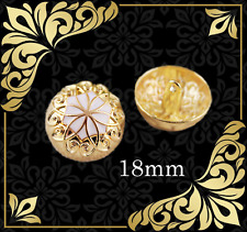 8 pcs. Metal button Gold & White Aster Flower style Art buttons 18mm