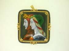 ANTIQUE 18K GOLD AND ENAMEL LARGE BROOCH/PENDANT OF DANTE AND BEATRICE -THE BEST