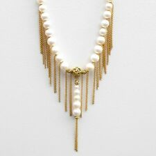 Necklace Cream Saltwater Pearl Tassel With Vintage Gold Lead Filigree Beads