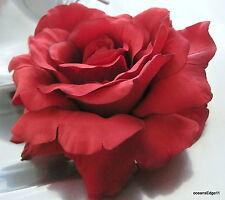 "Full 5"" Rich Red Silk Flower Rose Hair Clip,Bridal,Rockabilly,Pin Up,Updo"