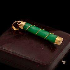 Antique Vintage Deco Retro 14k Yellow Gold Chinese Jadeite Jade Necklace Pendant