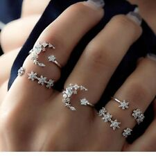 5pcs/set Crystal Silver Star Flower Stackable Sparkly Rings Vintage Jewelry