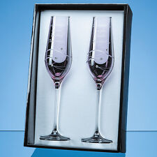 Pair 2 Personalised Engraved Diamante Crystal Pink Champagne Flutes Wedding Gift