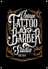 """Tatuaggio & Studio Barbiere"" Cartello in metallo, smalto, VINTAGE, No.641"