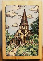 Stampendous St. James Steeple M064 Wood Mounted Rubber Stamp