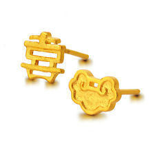 New 24K Yellow Gold Stud Earrings Lock & Xi Word Earrings