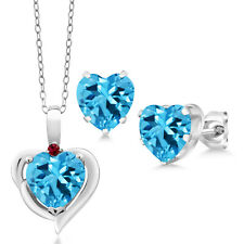6.92 Ct Heart Swiss Blue Topaz Created Ruby 925 Silver Pendant Earrings Set