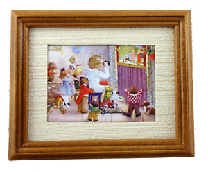 Melody Jane Dolls House Miniature Puppet Show Picture Painting in Walnut Frame