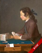 THE HOUSE OF CARDS GIRL STACKING CARDS PAINTING BY CHARDIN ART REAL CANVAS PRINT