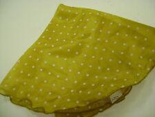 rond de soie 100 % diamètre 36 cm coloris jaune moutarde  des petits pois blanc