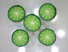 Handmade polymer clay flat circular beads – Lime Citrus slices