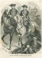 Louis XV et le Dauphin à la Bataille de Fontenoy guerre Succession GRAVURE 1851