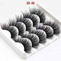 5Pairs 3D48 False Eyelashes Long Thick Mixed Fake Eye Lashes Makeup Mink UK