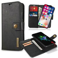 Genuine Leather Flip Wallet Case Stand Cover For Apple iPhone 10 X 8 7 6 6s Plus