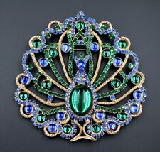 "Vtg Statement Emerald Green Sapphire Blue Peacock Figural Brooch Pendant 4"" x 4"""