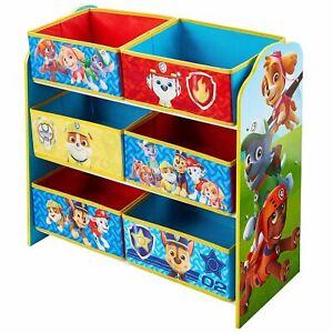 Paw Patrol Toy Storage Unit 6 Fabric Bins MDF Frame Children