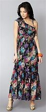 BNWT LADIES TG BLACK/MULTI RUFFLE ONE SHOULDER DETAIL FLOWER MAXI DRESS SIZE 8