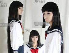 Jigoku Shoujo/Hell Girl Enma Ai Negra larga Cosplay peluca recta + regalo Redecilla