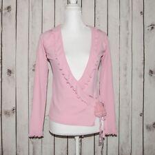 JC de CASTELBAJAC Women's V Neck Wrap Ruffle Front Blouse Pink sz 46