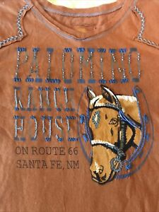 DOUBLE D RANCH WEAR BEADED EMBROIDERED KNIT SHIRT PALOMINO RANCH HOUSE EUC