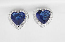 18K WHITE GOLD PLATED SAPPHIRE BLUE/CLEAR GENUINE CUBIC ZIRCONIA HEART EARRINGS