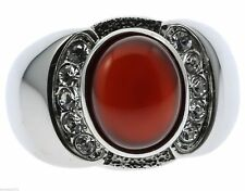 Red Agate Ruby Simulated Stone Cz Accented Stainless Steel Men's Ring Size 13