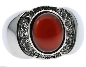 Red Agate Ruby Simulated Stone Cz Accented Stainless Steel Men's Ring Size 9