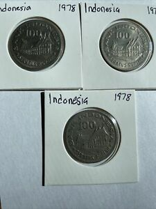 1978 Indonesia 100 Rupiah Coins. Lot of 3 Coins