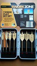 Workzone 7 Piece Flat Bit Set 10mm to 32mm In Storage Case