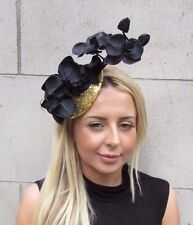 Black & Gold Sequin Orchid Flower Fascinator Hat Races Hair Clip Vintage 3137