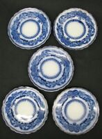 "Set of (5) Five Flow Blue Wood & Sons ""Madras"" Bread Plates 1891-1907; Mint"