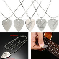 Trendy Stainless Steel Metal Rock Acoustic Guitar Picks Necklace for Men Women
