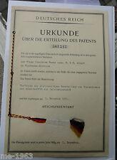original Deutsches Reich Patenturkunde  1931 Wiesbaden Bieberich Patent