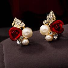 Korean Style Women Rose Flower Pearl Gold Plated Rhinestone Ear Studs Earrings