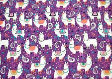 FESTIVE DECROATED LLAMAS ON VIOLET FLANNEL 100% COTTON MATERIAL 2 YDS 42x72""