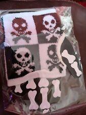 Cycling Glove Skull Head Open Finger Skeleton Gloves Black / White