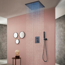 """Led Oil Rubbed Bronze 12"""" Rainfall Bathroom Shower Faucet Set Mixer Cell Mounted"""